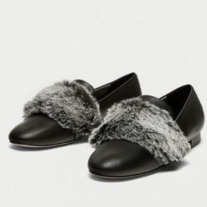 ZARA Fur Trimmed Leather Loafer